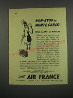 1949 Air France Ad - Non-stop to Monte Carlo