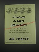 1949 Air France Ad - 4 engines for Paris £10 return