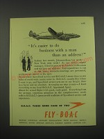 1949 BOAC British Overseas Airways Corporation Ad - It's easier to do busienss