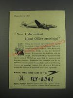1949 BOAC British Overseas Airways Corporation Ad - Now I do without meetings
