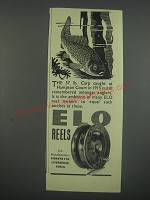 1949 Elo Fishing Reels Ad - the 37 lb. Carp caught at Hampton Court in 1915