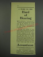 1949 Acousticon Hearing Aid Ad - A word to the hard of hearing