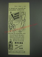 1949 Myers Rum Ad - A drink to reward (or stimulate) endeavour