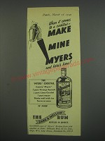 1949 Myers Rum Ad - When it comes to a cocktail - make mine myers