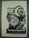 1949 Movado Astrograph Watch Ad - Astrograph time from month to second