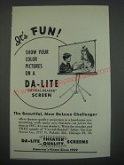 1949 Da-Lite DeLuxe Challenger Screen Ad - It's fun