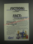 1991 Lysol Products Ad - Fiction: A few germs won't hurt me or my family