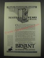 1929 Bryant Automatic Heating Ad - Truly automatic heating tested by 20 years