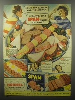 1940 Hormel Spam Ad - Lunch for Captain and the crew?