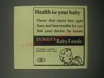 1940 Stokely's Baby Foods Advertisement