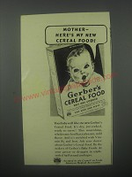 1939 Gerber's Cereal Food Ad - Mother - here's my new cereal food