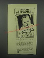 1939 Gerber's Cereal Food Ad - Taste the difference in Baby's new cereal