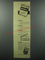 1938 Mazda Salad Oil Ad - Mazola is called the salad oil of character
