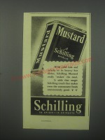 1938 Schilling Mustard Ad - With cold cuts and salads
