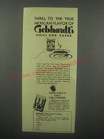 1936 Gebhardt's Chili Powder Ad - Thrill to the true Mexican flavor