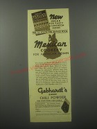1935 Gebhardt's Chili Powder Ad - New ideas for party & Luncheon menus