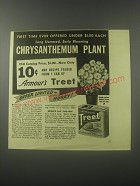 1941 Armour's Treet Meat Ad - early blooming Chrysanthemum plant