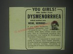 1941 Lydia E. Pinkham's Vegetable Compound Ad - girls who suffer dysmenorrhea