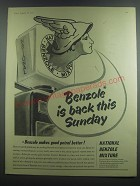 1953 National Benzole Petrol Ad - Benzole is back this Sunday