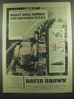 1953 David Brown Tractors Ad - Biggest Single Shipment ever dispatched to Italy