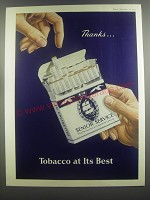 1953 Senior Service Cigarettes Ad - Thanks.. Tobacco at its best