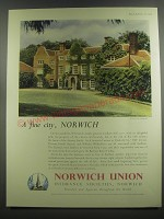 1953 Norwich Union Insurance Ad - Earlham Hall - A fine city, Norwich