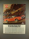 1973 Dodge Charger Rallye Car Ad - For Hard Driving Man