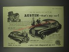 1953 Austin A40 Somerset and A30 Seven Cars Ad - See the quality and you'll say