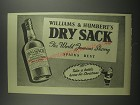 1953 Williams & Humbert's Dry Sack Sherry Ad - The World Famous Sherry