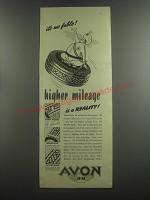 1953 Avon H.M. Tires Ad - It's no fable! Higher mileage is a reality