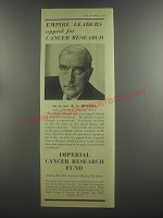 1953 Imperial Cancer Research Fund Ad - Rt. Hon. R. G. Menzies
