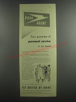1953 BOAC Airlines Ad - BOAC Agent your guarantee of personal service in air