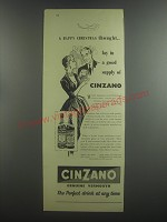 1953 Cinzano Vermouth Ad - A Happy Christmas thought.. Lay in a good supply