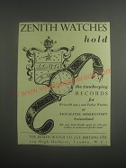 1953 Zenith Watches Ad - Zenith Watches hold the timekeeping Records for Wrist