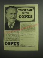 1953 David Cope Ltd. Ad - You're safe with Cope's