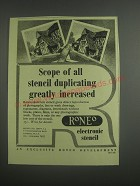 1953 Roneo Electronic Stencil Ad - Scope of all stencil duplicating