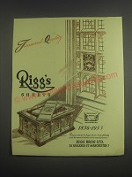 1953 Rigg's Sheets Ad - Treasured quality