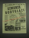 1953 Simoniz Bodyglaze Liquid wax polish and Liquid Kleener Ad