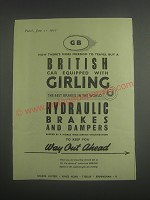 1953 Girling Brakes Ad - GB Now there's more freedom to travel buy a British