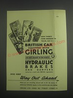 1953 Girling Hydraulic brakes and dampers Ad - Now there's more freedom
