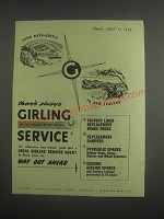 1953 Girling Brake Service Ad - From Nova-Scotia to New Zealand