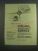 1953 Girling Brake Service Ad - At the sun-baked tropics or the snow-capped alps
