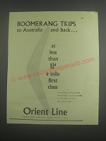 1953 Orient Line Cruise Ad - Boomerang trips to Australia and back