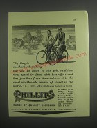 1953 Phillips Bicycles Ad - Cycling is mechanised walking but you sit down