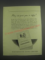 1953 Westminster Bank Ad - May we give you a copy?