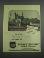 1953 London & Lancashire Insurance Ad - The Tower of London