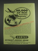 1953 Qantas Airline Ad - 60,000 air miles of Australian hospitality