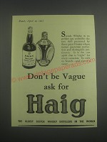 1953 Haig Scotch Advertisement - Don't be vague ask for Haig