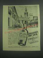 1953 William & Humberts Dry Sack Sherry Ad - Seville Cathedral, Spain