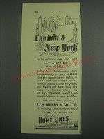 1953 Home Lines Cruise Ad - Canada & New York